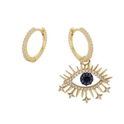 apm MONACO法國精品珠寶 閃耀金色鑲鋯POP Lucky眼睛不對稱耳環