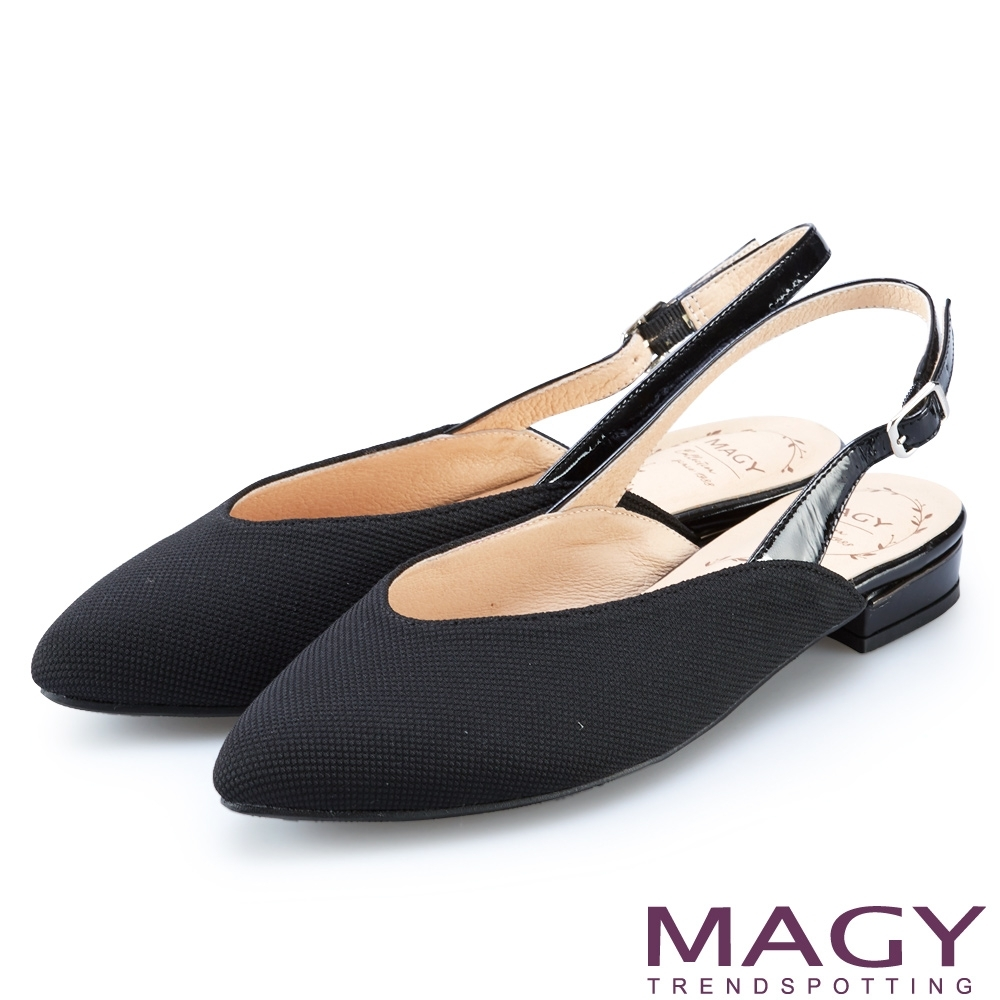 MAGY 繫帶鏤空後拉帶尖頭平底鞋 黑色