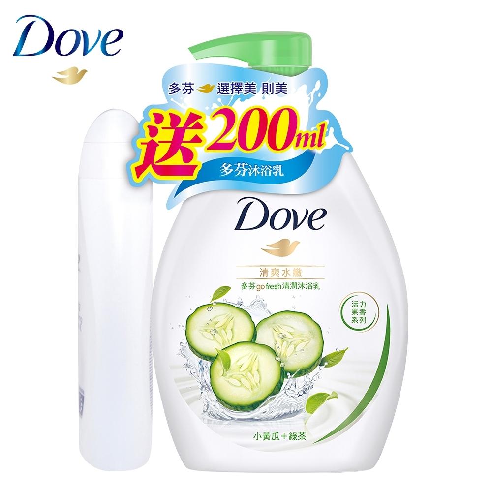 DOVE多芬 清爽水嫩沐浴乳送多芬滋養柔嫩沐浴乳 1L+200ml