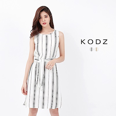 東京著衣-KODZ 知性線條修身綁腰無袖洋裝-S.M.L(共二色)