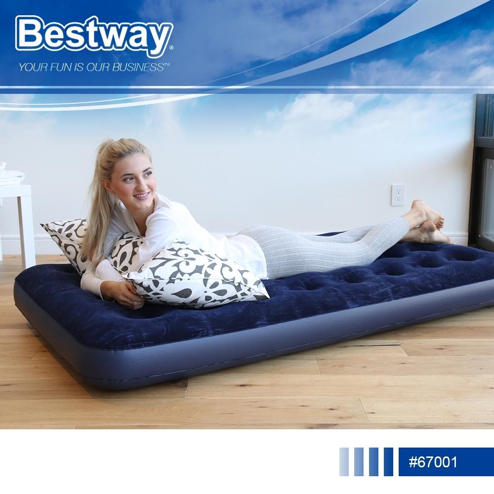 Bestway 67001立柱植絨充氣床墊(單人加大)附修補片.登山露營蜂窩氣柱睡墊氣墊床