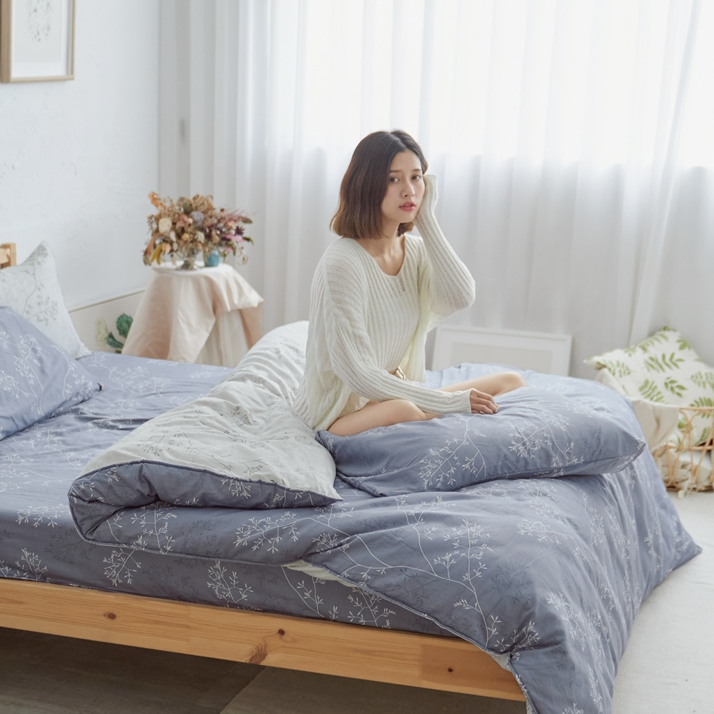 BUHO 天然嚴選純棉雙人加大四件式床包被套組(清柔雅逸-深灰)