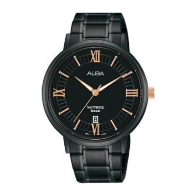 ALBA 雅柏 Prestige羅馬不鏽鋼藍寶石水晶錶41黑金色(AS9L19X1)