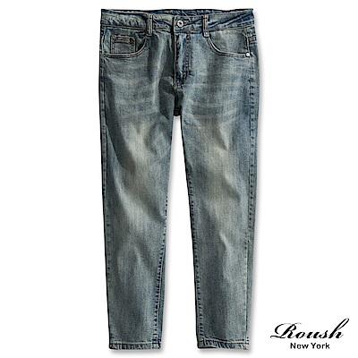 Roush 基本款水洗刷白窄管彈力牛仔褲