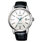 CITIZEN 星辰簡約機械真皮手錶NK0000-10A-銀X黑/41mm