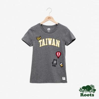 女裝Roots-台灣國慶貼布短袖T恤-灰色