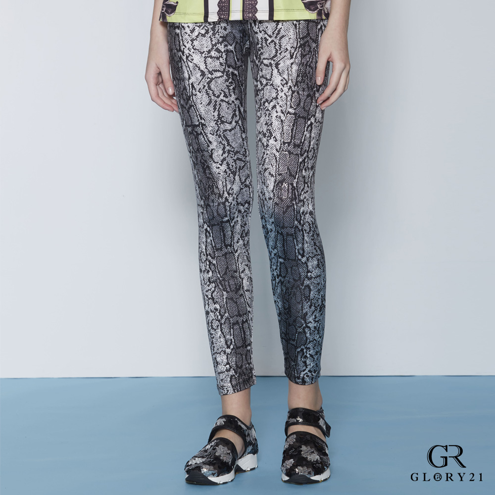 GLORY21 漸層豹紋印花彈性長褲-雙色 @ Y!購物
