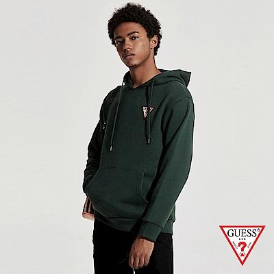 GUESS-男裝-純色經典倒三角LOGO小標長袖帽T-綠 原價3990