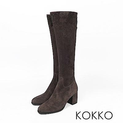 KOKKO - 逆天美腿滿天星麂皮高跟長靴 - 質感灰