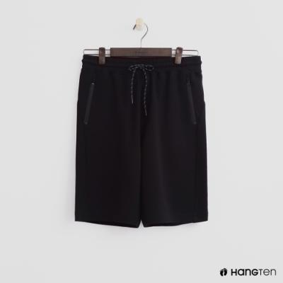 Hang Ten - 男裝 - 純色拉鍊口袋運動五分褲-黑