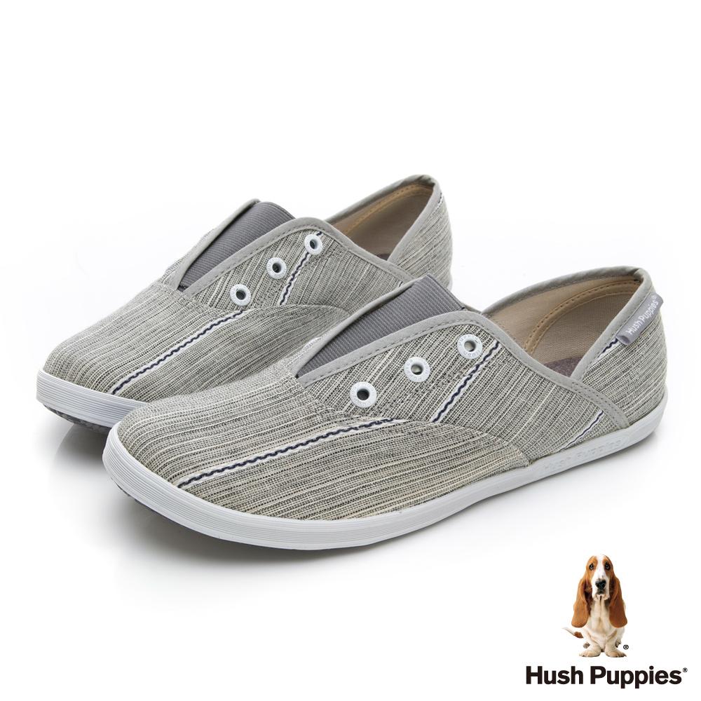 Hush Puppies 極簡民族風咖啡紗懶人帆布鞋-灰