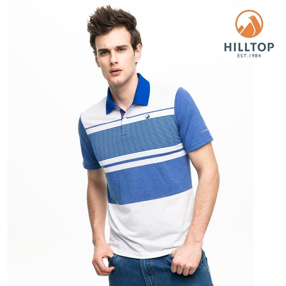 【hilltop山頂鳥】男款抗菌彈性抗UV條紋polo衫PS14XMH0ECEW海藍/明亮白