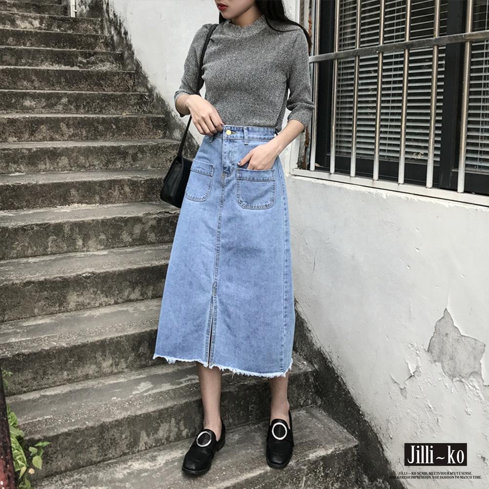 Jilli-ko 韓版高腰寬鬆牛仔A字裙- 深藍/淺藍 product image 1