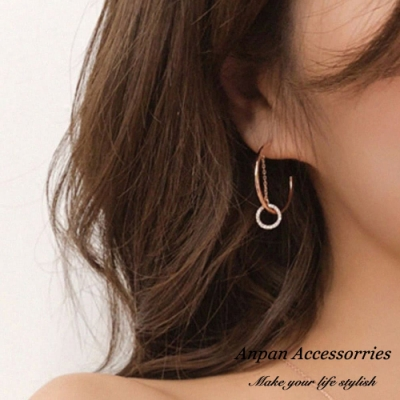 【ANPAN愛扮】金秘書為何那樣同款C型雙層滿鑽925銀耳針式耳環(金秘書為何那樣同款)
