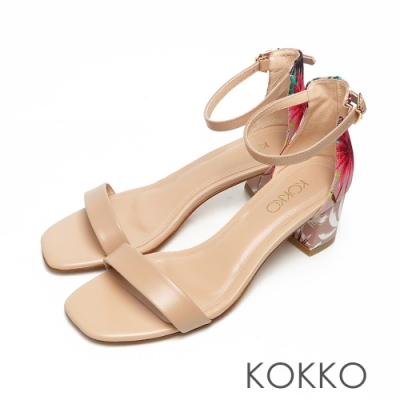 KOKKO時髦方頭小牛皮一字帶粗跟繫帶涼鞋花漾裸