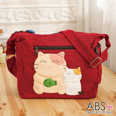 ABS貝斯貓 微笑大貓小貓可愛拼布 斜側背包(棗紅)88-189