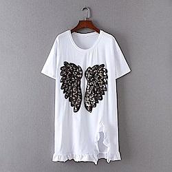 KT 亮片翅膀長版短袖T恤-白/黑