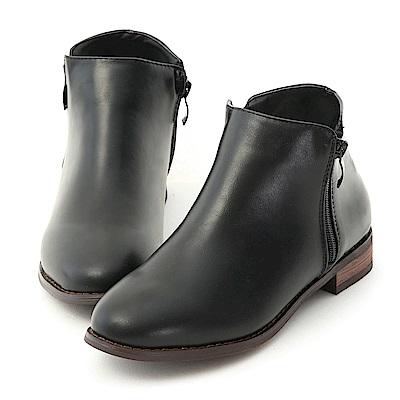D+AF 自信簡約.側拉鍊設計平底短靴*黑