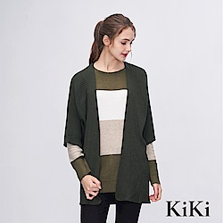 KiKi INLook 五分袖長版針織罩衫(軍綠色)