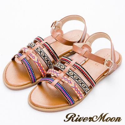 River&Moon大尺碼-編織民族魚骨羅馬平底涼鞋-棕