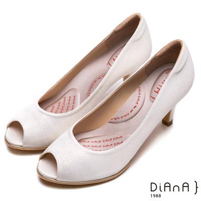 DIANA璀璨法式金織布面魚口高跟鞋-輕盈美人-淺金