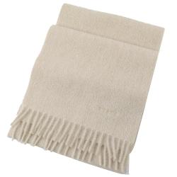 PRADA 電繡LOGO長型羊毛圍巾(米色)