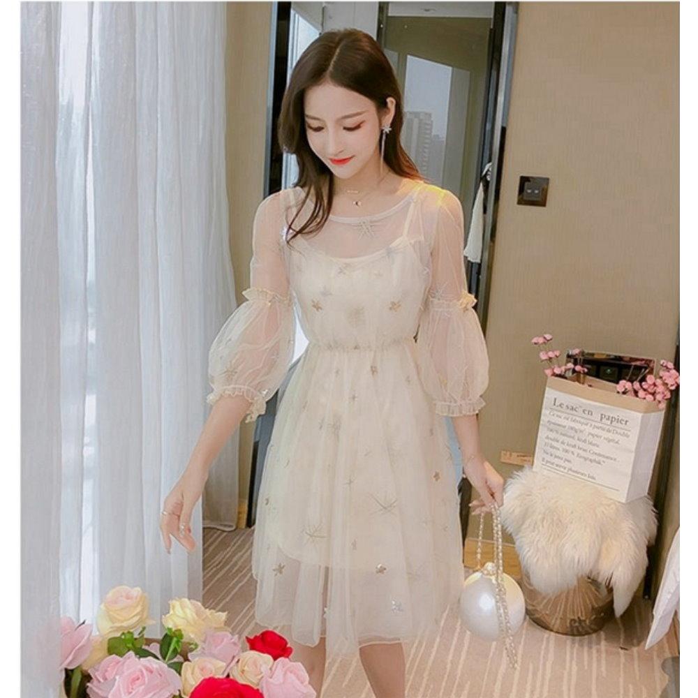 韓版氣質星星網紗洋裝S-XL(共三色)-Dorri