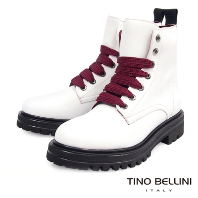 Tino Bellini西班牙進口全真皮綁帶工程短靴_白