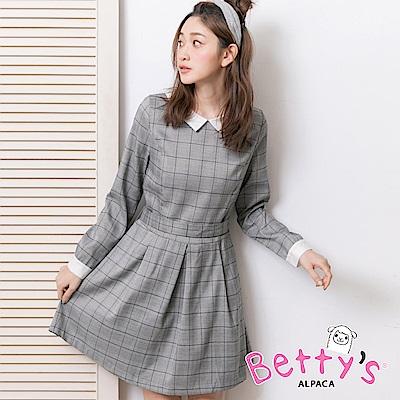 betty's貝蒂思 格紋綁結配色洋裝(淺灰)