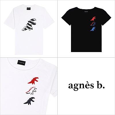agnes b. - 恐龍印花圓領短袖上衣(3款/男女)