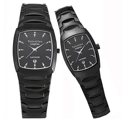 Valentino Coupeau 范倫鐵諾 古柏 精密陶瓷酒桶腕錶 黑陶 對錶