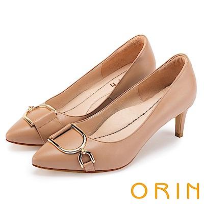 ORIN 時尚名媛 雙D金屬羊皮尖頭高跟鞋-淺棕