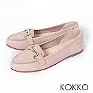 KOKKO - 簡約舒適真皮金屬釦莫卡辛休閒鞋-中性灰