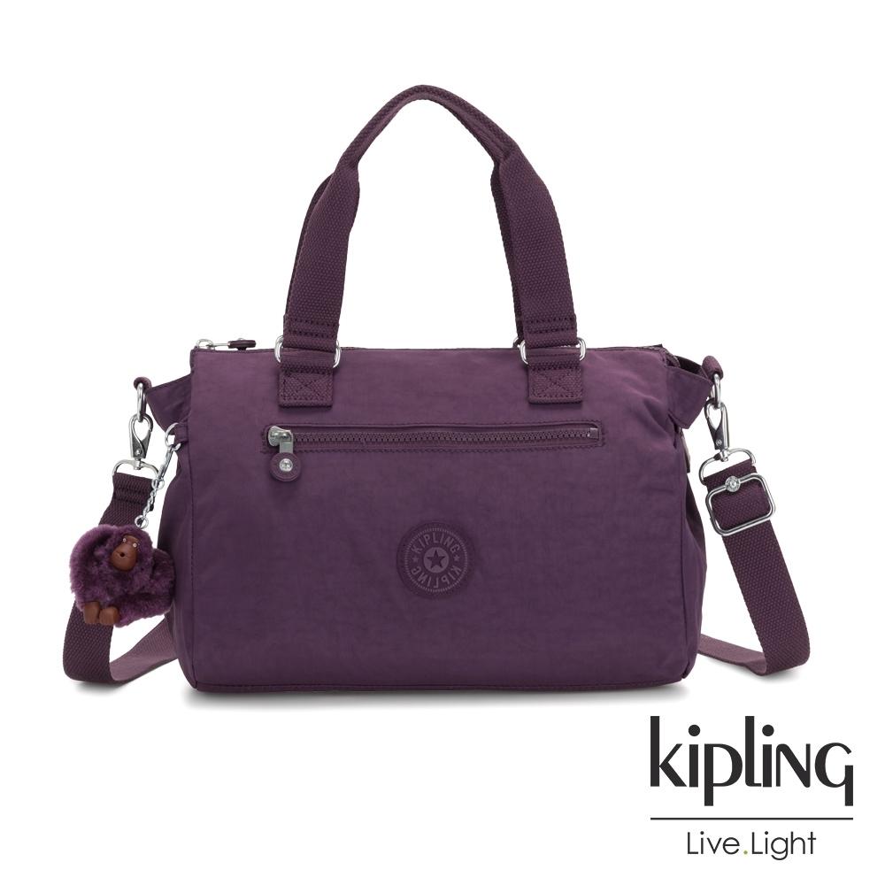 Kipling 低調奢華深紫色手提側背公事包-PILAR