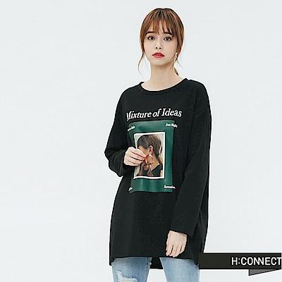 H:CONNECT 韓國品牌 女裝-圖像印製長袖T-shirt-黑