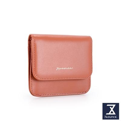 74盎司 Elegant-C真皮壓釦卡片零錢包[LN-769-EL-W]粉橘