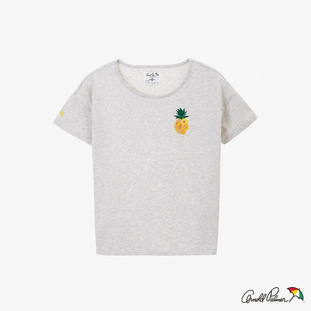 Arnold Palmer-女裝-鳳梨刺繡方形線條短袖上衣-淺灰