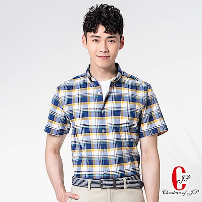 Christian 美式牛仔設計休閒襯衫_黃藍白格(RS831-55)