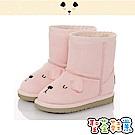 CONNIFE 保暖絨毛輕量高筒雪靴童鞋-粉