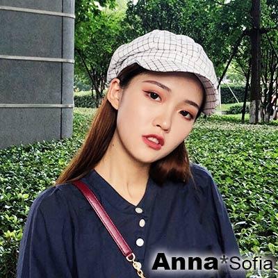 AnnaSofia 學院小方格 混棉報童帽貝蕾帽(白底系)
