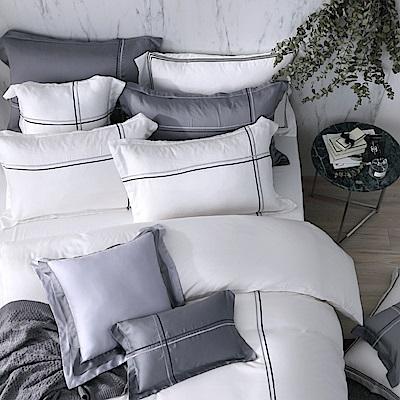 OLIVIA  Alma 白  300織天絲萊賽爾 標準雙人床包歐式枕套組