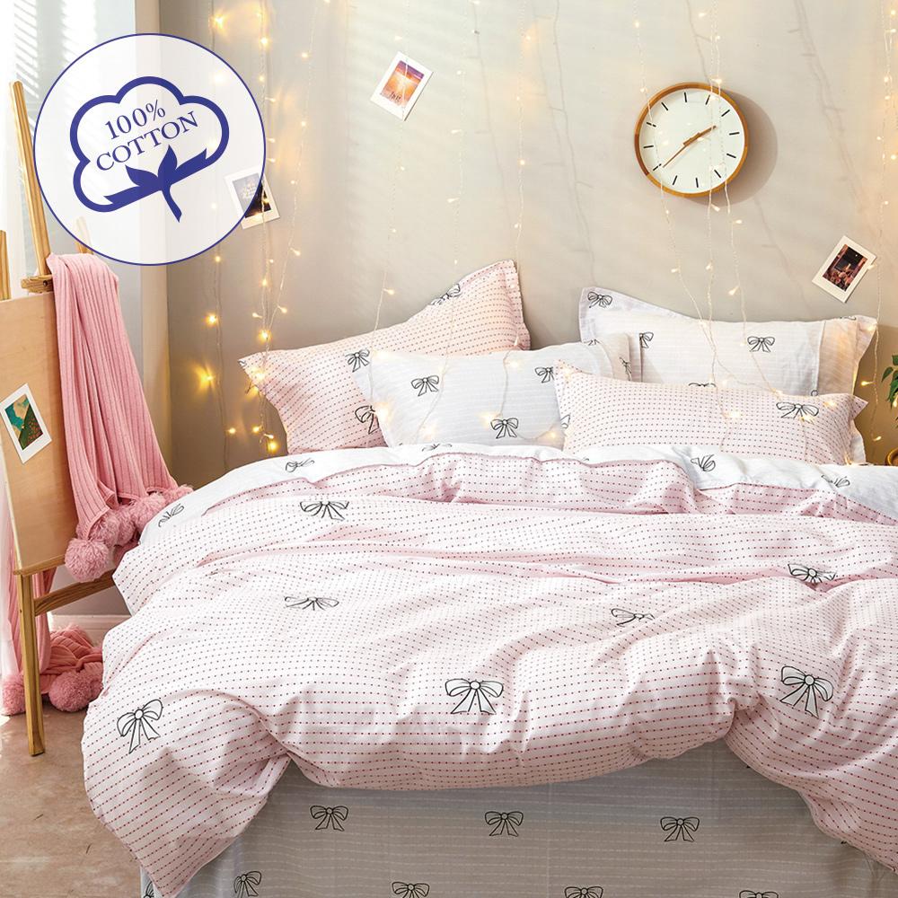 A-one - 100%純棉 雙人床包枕套三件組 - 艾莉絲 台灣製