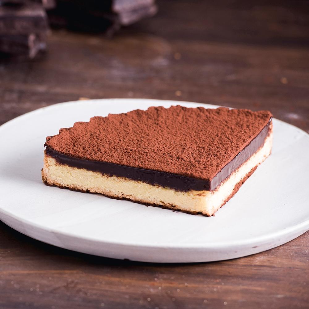 深夜裡的法國手工甜點 經典生巧克力塔(1/4顆)(非整顆圓形)-4組(預購)