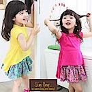 小衣衫童裝  韓風俏麗感糖果色不規則裙襬上衣1020517