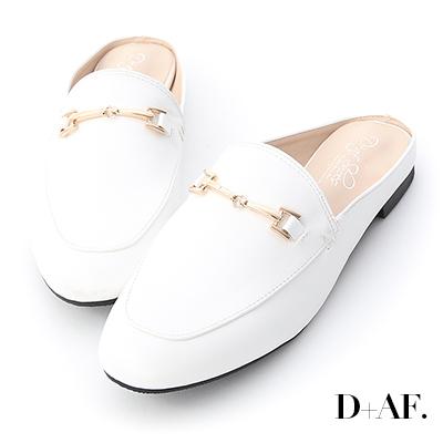 D+AF 時髦主義.馬銜釦設計平底穆勒鞋*白