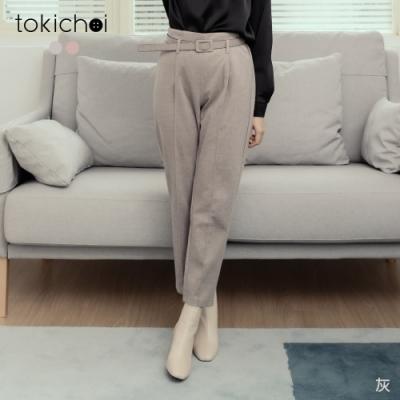 東京著衣 俐落OL毛呢質感附腰帶中線長褲(共二色)