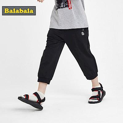 Balabala巴拉巴拉-英文字印花寬鬆七分棉褲-男(2色)