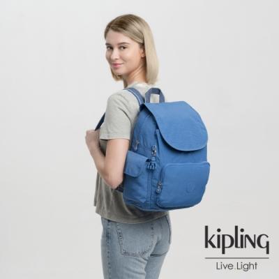 Kipling 經典海洋藍拉鍊掀蓋後背包-CITY PACK W