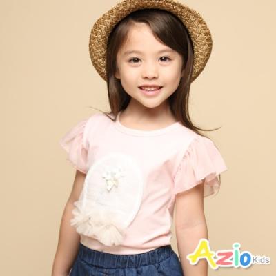 Azio Kids 女童 上衣 白色小花網紗花朵荷葉短袖上衣(粉)