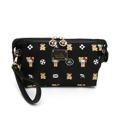 Hello Kitty聯名- 化妝包附手挽帶 DEAR BEAR熊熊系列-黑色